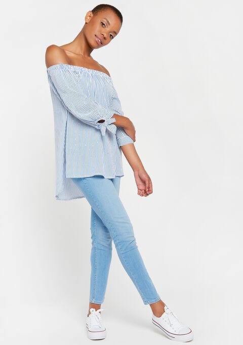 Carmen-blouse met strepen - BLUE GRAPE MIST - 05700510_3002