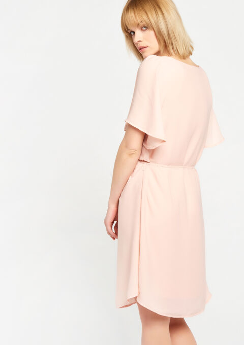 Effen jurk, v-hals met ring - PINK CALM - 928444