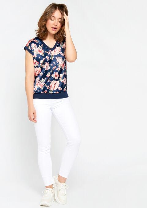 T-shirt met bloemenprint - BLACK IRIS - 02300244_1667
