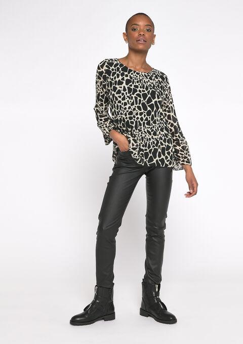 Plissé-blouse met giraf print - OFFWHITE - 05701347_1001