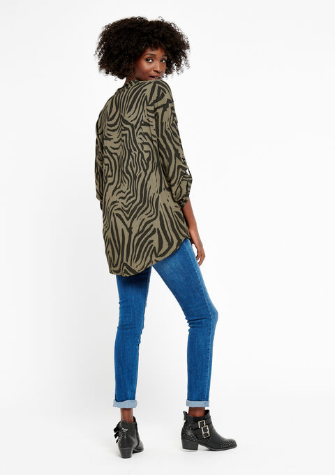 Blouse in voile met zebraprint - KHAKI DUSKY - 932395
