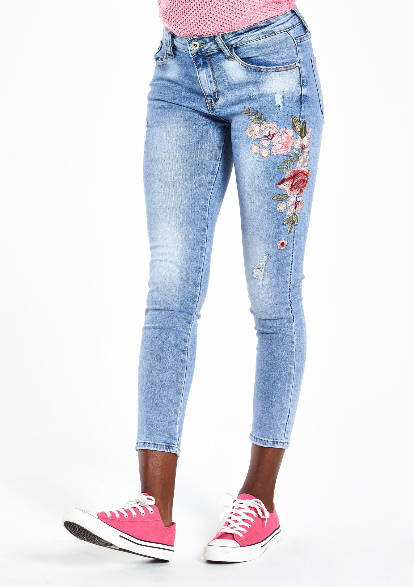 Jeans Vêtements Fille Jean Slim avec Fleur Brodée