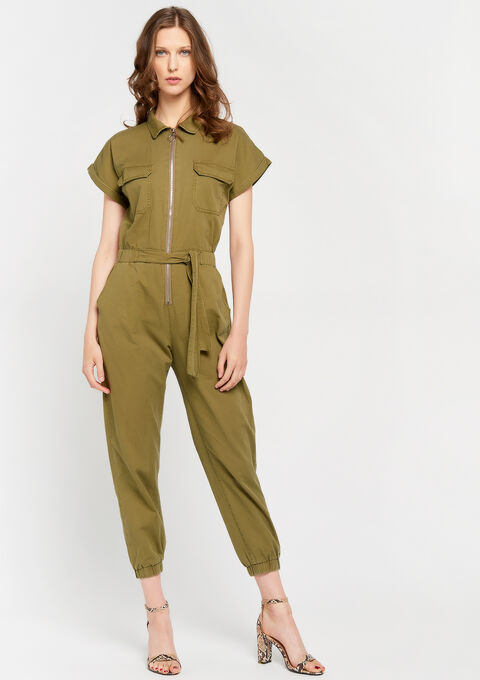 Jumpsuit with short sleeves - KHAKI ARMY - 06003975_4314