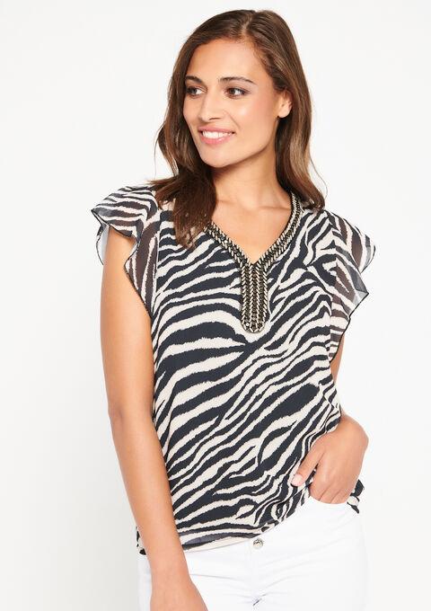 Zebra blouse met versierde hals - BLACK BEAUTY - 958250