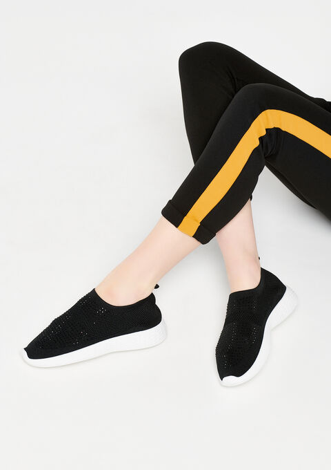 Sock sneakers with strass - BLACK - 13000367_1119