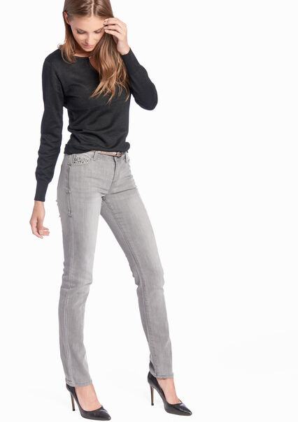 Straight fit jeans met riem - LIGHT GREY - 06002916_504