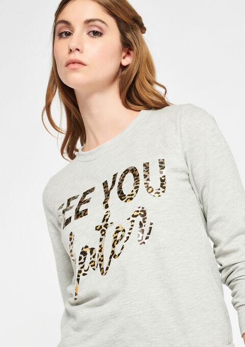 Sweater met slogan - GREY MILD MEL. - 03001379_3504