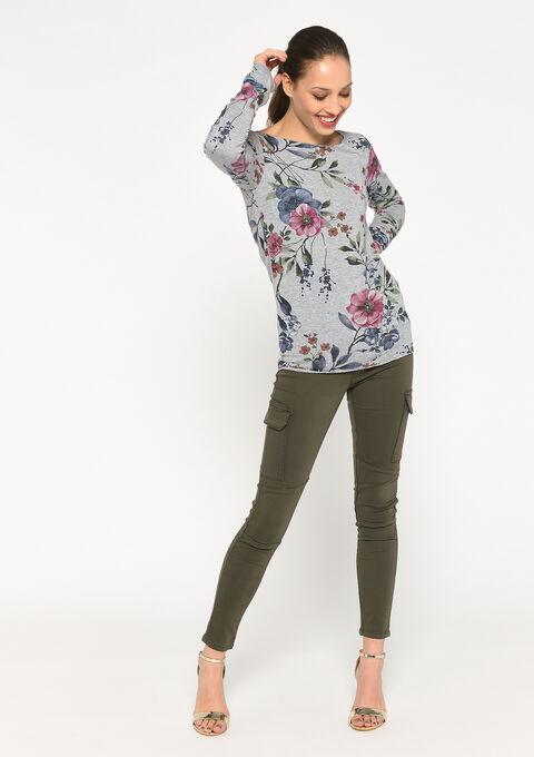 Gebloemd t-shirt met lange mouwen - GREY MILD MEL. - 02400119_3504