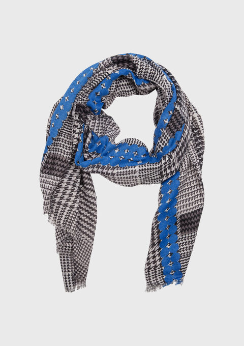 Foulard met ruiten - ELECTRIC BLUE - 930952