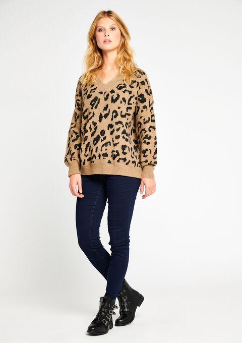 Pull léopard, col-v - TAUPE CARAMEL - 919929