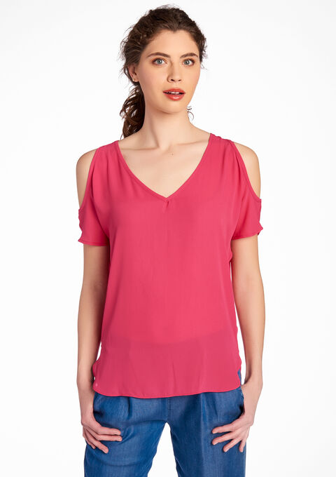 c52924dc7afc30 Cold-shoulder blouse with V-neck - FUSCHIA PINK - 05003477 1465