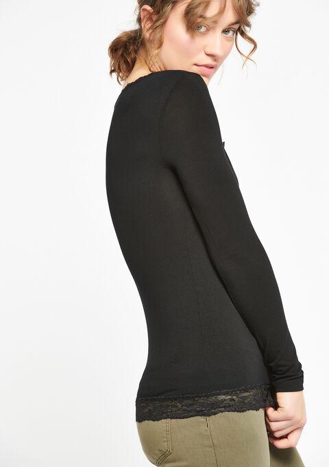 T-shirt met lange mouwen en kant - BLACK - 933491