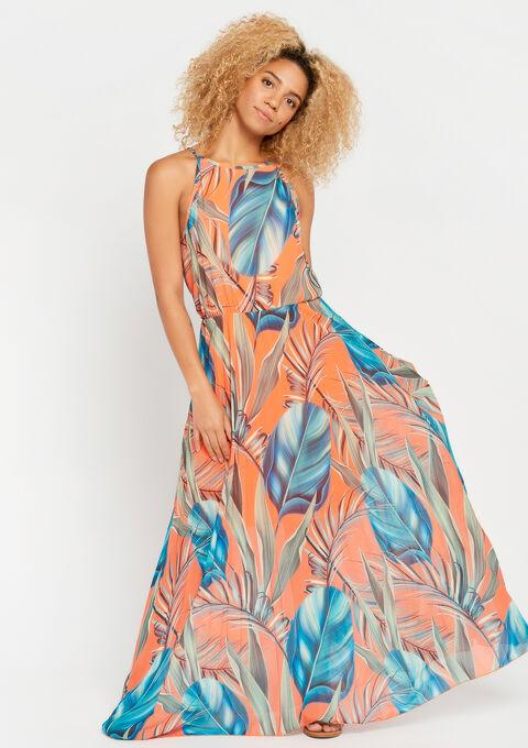 Robe longue, jupe plissée, à fleurs - ORANGE SUNSET - 08600436_5200