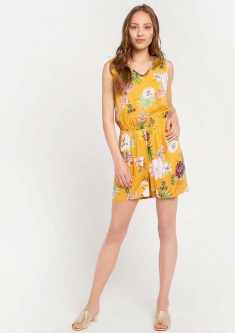 Playsuit with floral print - YELLOW SUREAU - 06003871_4913