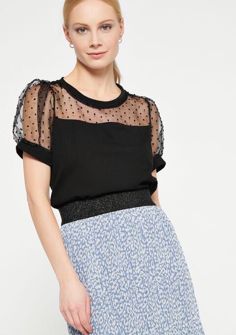 T-shirt doorzichtige stof met stipjes - BLACK - 02300691_1119