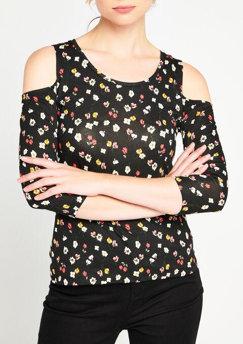 T-shirt met open schouders & 3/4 mouwen - BLACK - 02005622_1119