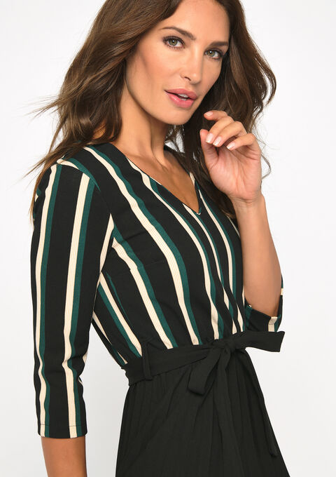 Gestreepte A-lijn jurk - GREEN COBALT - 08101622_4620