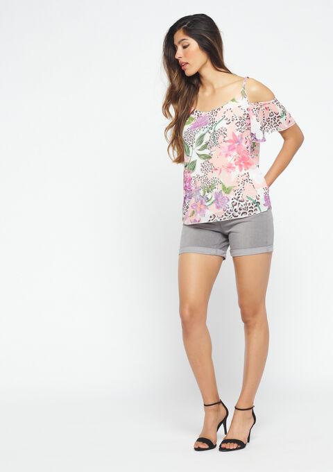 Carmen-blouse met tropische print - PINK CALM - 05700487_4102