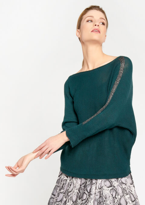 Lichte trui met striklint - GREEN DARKEN - 04004733_4505