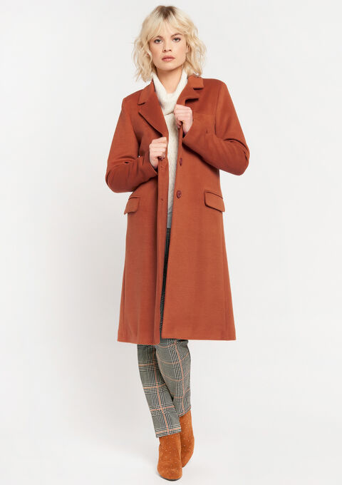 Long coat with buttons and pockets - RUST BROWN - 23000242_1283