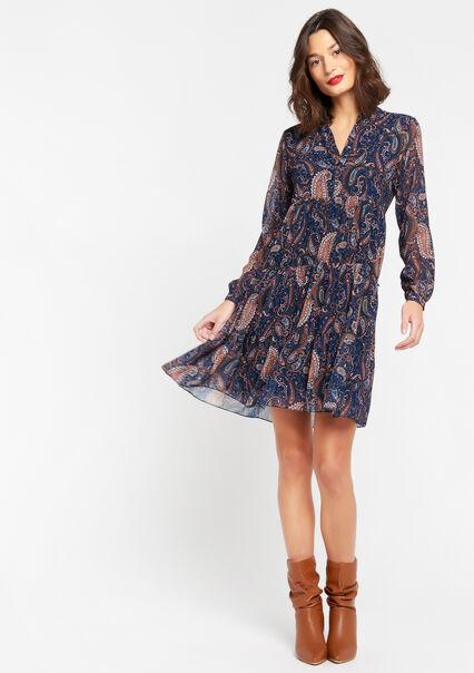 Robe mini babydoll fleurie - NAVY BLUE - 08102396_1651