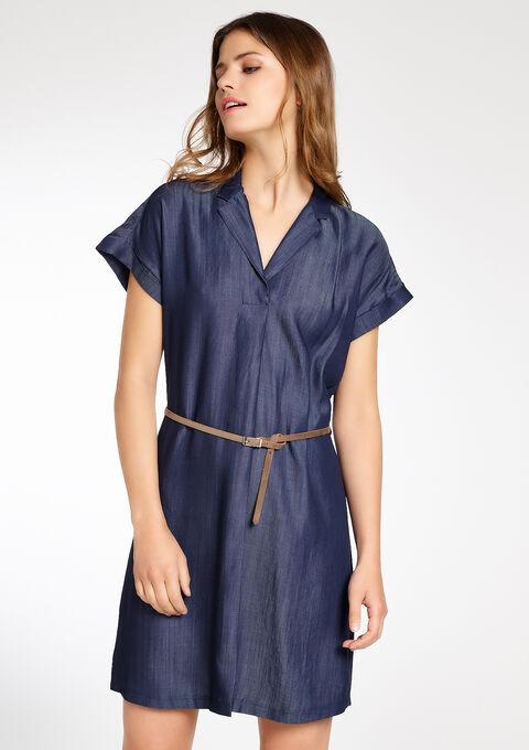97999667f11762 Jeans jurk met korte mouwen en riem - BLUE DENIM - 08004519 1638