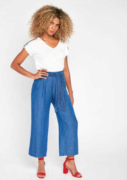 Culotte in tencel - BLUE DENIM - 06600041_1638