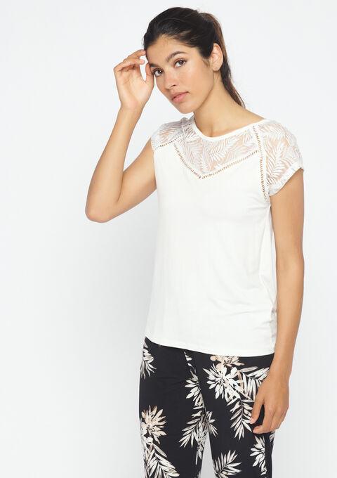 T-shirt met ronde hals & kant - WHITE ALYSSUM - 02300123_2502