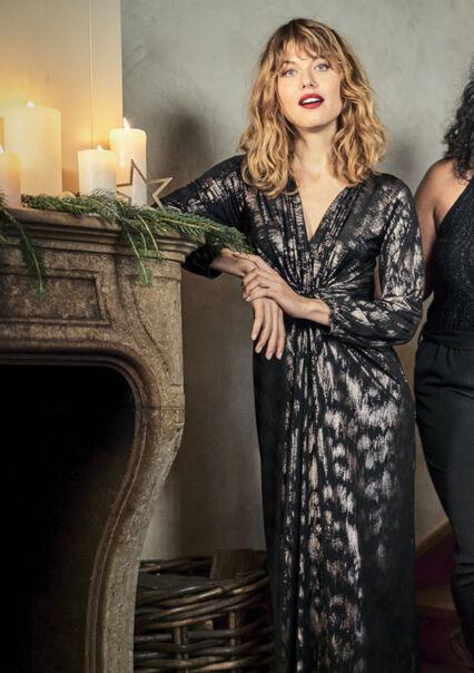 Maxi jurk met V-hals - COPPER - 08601249_6301