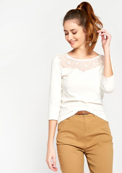 T-shirt met 3/4 mouwen en kant - WHITE ALYSSUM - 920130
