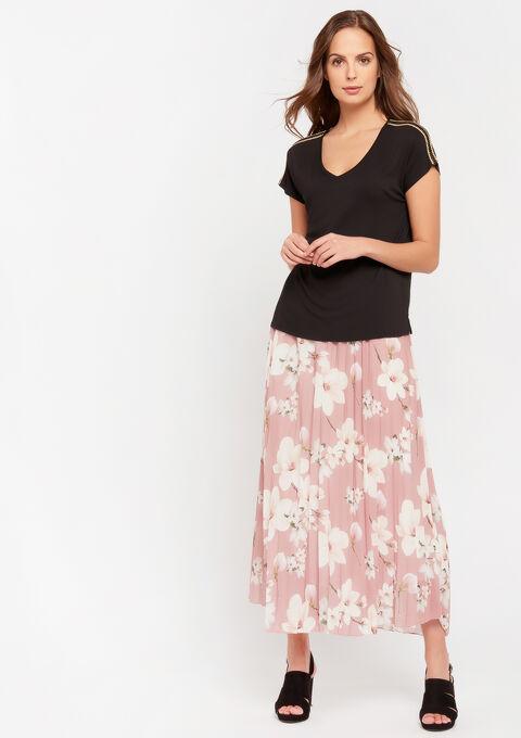 T-shirt met korte mouwen en V-hals - BLACK - 02300594_1119