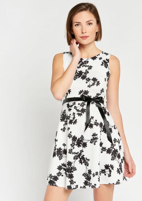 Floral skater dress - WHITE ALYSSUM - 08101006_2502