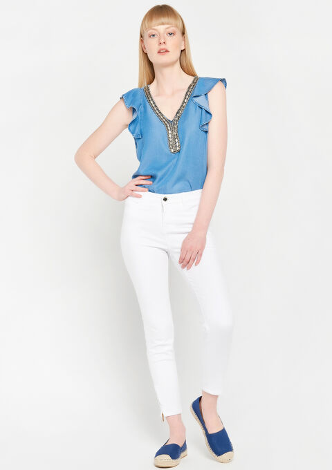 Blouse in tencel met versierde hals - MEDIUM BLUE - 05700357_500