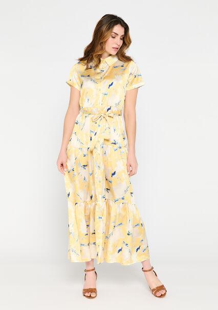 Robe chemise longue à imprimé floral - LIGHT YELLOW - 08601344_5002