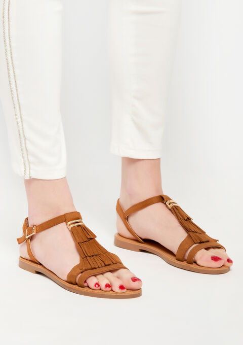 fringed flat sandals - CAMEL TRUSH - 13000456_3808