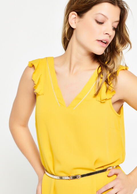 Robe sans manches, ceinture - LEMON CURRY - 08100452_1237
