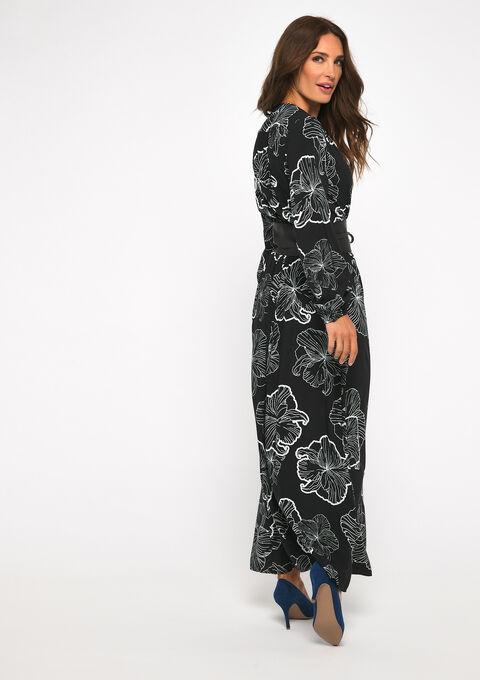 Robe maxi imprimée fleurs - BLACK BEAUTY - 08600971_2600