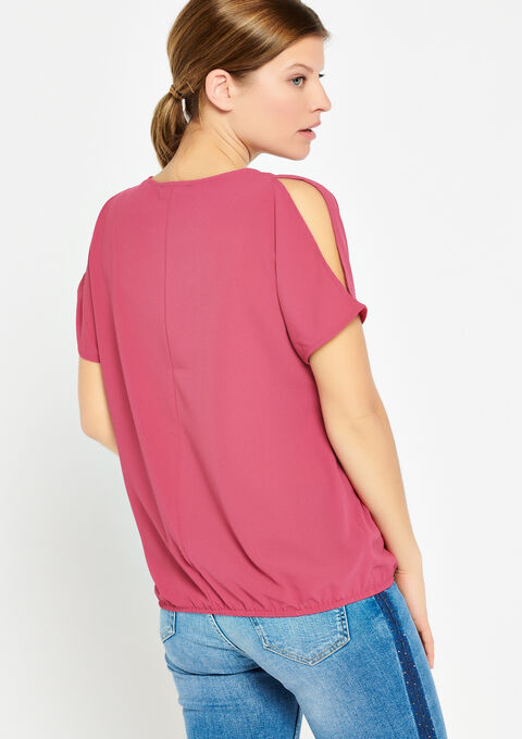 Blouse met open schouders & halsketting - FUCHSIA CHERRY - 05700241_5617