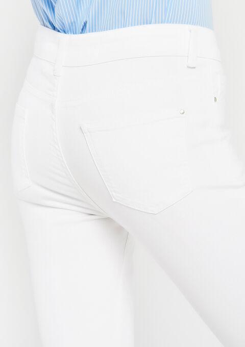 Jeans slim fit met gerafelde randen - OPTICAL WHITE - 22000068_1019