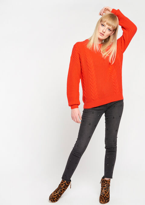 Cable sweater - FLAME RED - 04004463_1398