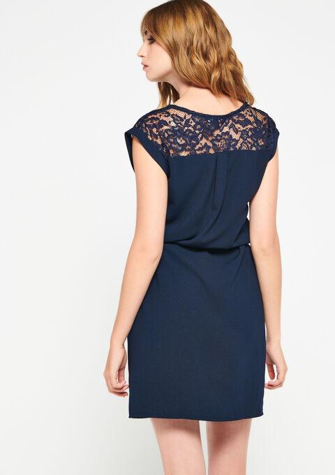 Mini jurk met kant - PEACOAT BLUE - 960099
