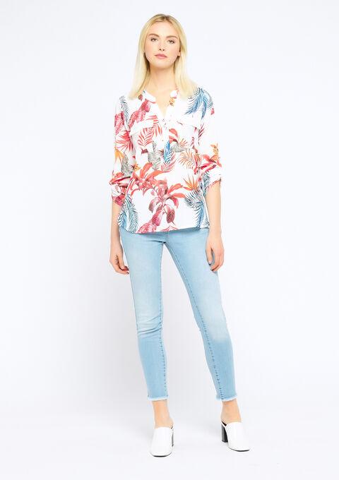 Blouse met tropische print & lovertjes - ORANGE SUNSET - 05700414_5200