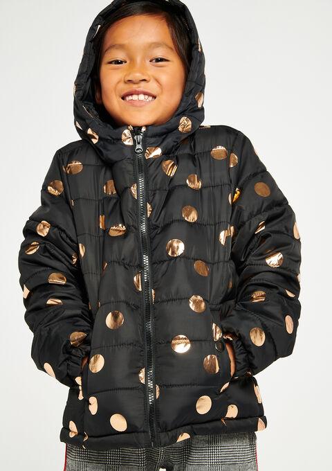 695e6f087 Padded jacket, polkadot print, hood - LolaLiza