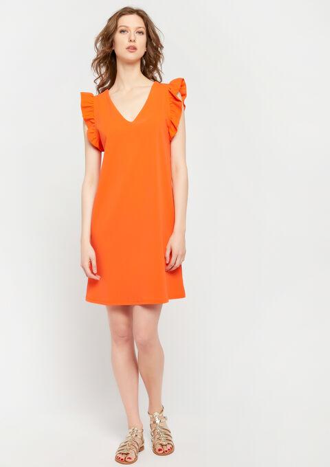 Rechte jurk met v-hals - ORANGE SUNSET - 08100751_5200