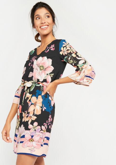Rechte jurk met bloemenprint - NAVY BLIND - 08100591_1712