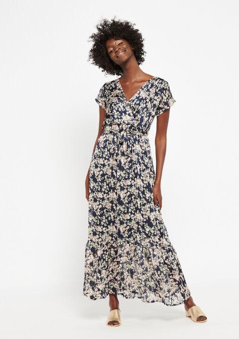 Robe longue à fleurs - NAVY BLUE - 08600153_1651