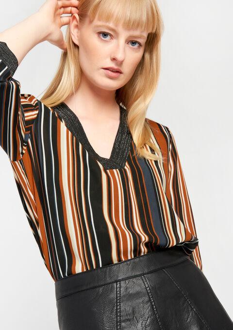 Gestreepte blouse met v-hals - BLACK - 05700140_1119