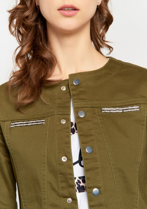 Katoenen jas zonder kraag - KHAKI ARMY - 09100223_4314