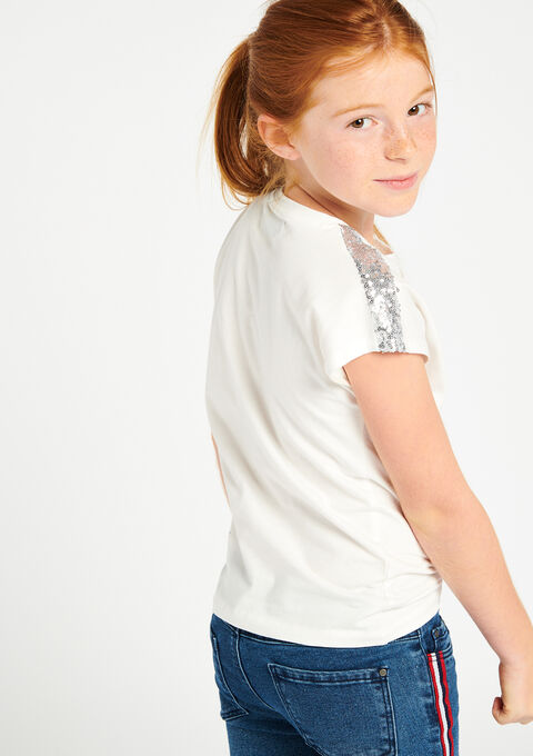 Effen t-shirt met lovertjes - IVORY WHITE - 02300014_1011