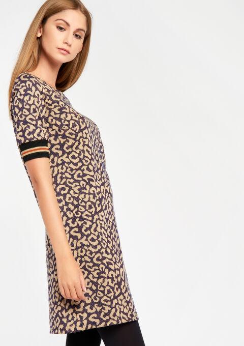 Straight dress print jacquard leopard - BEIGE BIRCH - 08100219_1929